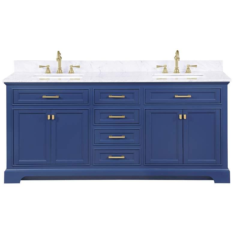 """Milano 72"""" Wide Blue Wood 6-Drawer Double Sink Vanity"""