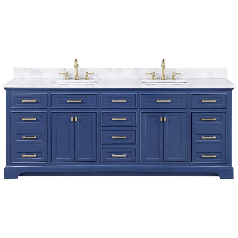 """Milano 84"""" Wide Blue Wood 10-Drawer Double Sink Vanity"""