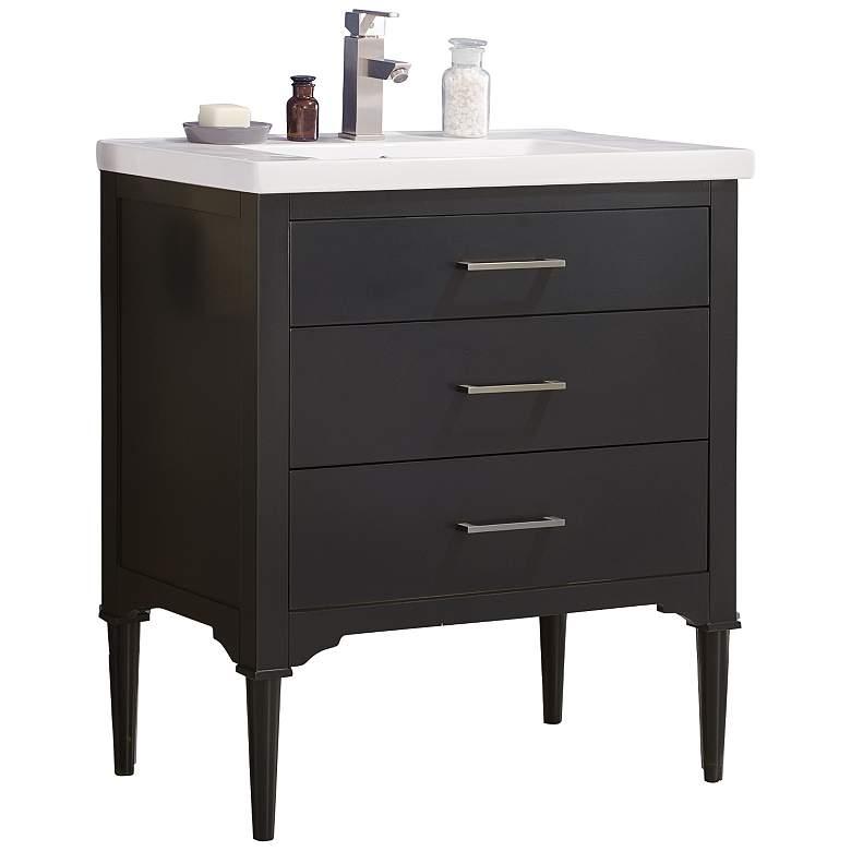 "Mason 30"" Wide Espresso Wood 3-Drawer Single Sink Vanity"