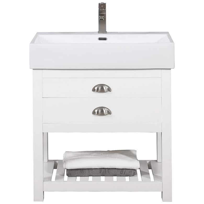 """Gavin 30"""" Wide White Wood 1-Drawer Single Sink Vanity"""