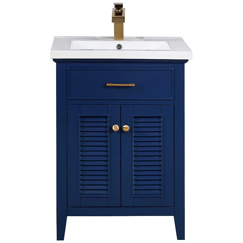 """Cameron 24"""" Wide Blue Wood 2-Door Single Sink Vanity"""