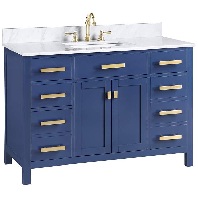 """Valentino 48"""" Wide Blue Wood 5-Drawer Single Sink Vanity"""