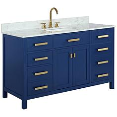 """Valentino 54"""" Wide Blue Wood 5-Drawer Single Sink Vanity"""