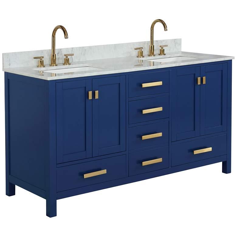 "Valentino 60"" Wide Blue Wood 5-Drawer Double Sink Vanity"