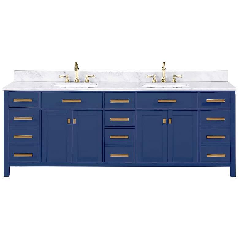 "Valentino 84"" Wide Blue Wood 7-Drawer Double Sink Vanity"
