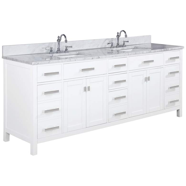 "Valentino 84"" Wide White Wood 7-Drawer Double Sink Vanity"