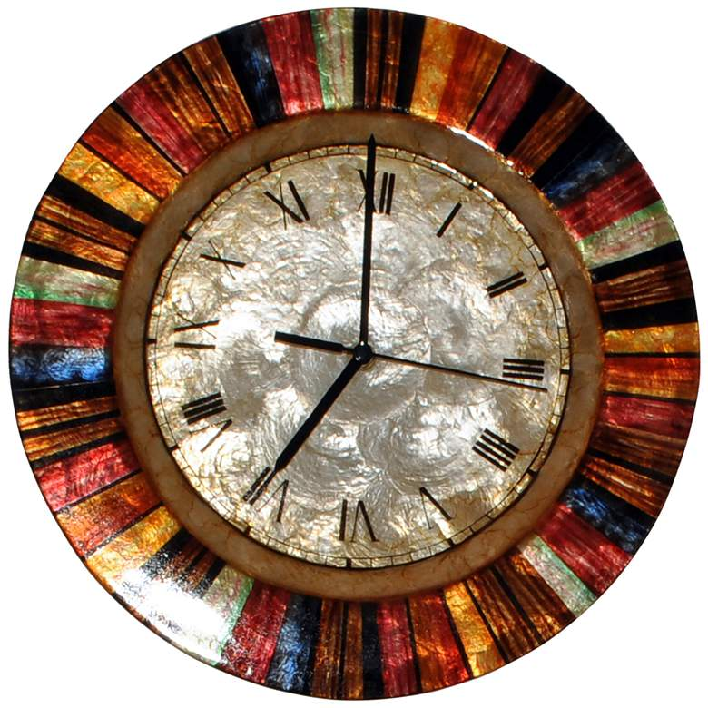 """Eangee Multi-Color Capiz Shell Face 13"""" Round Wall Clock"""
