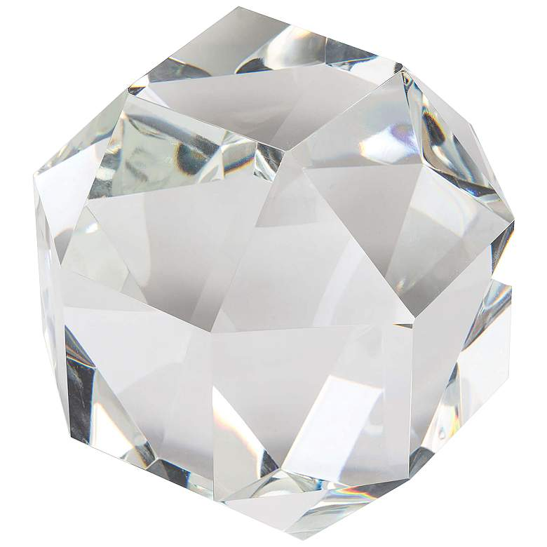 Large Octahedron Crystal Glass Table Top Accent Sculpture