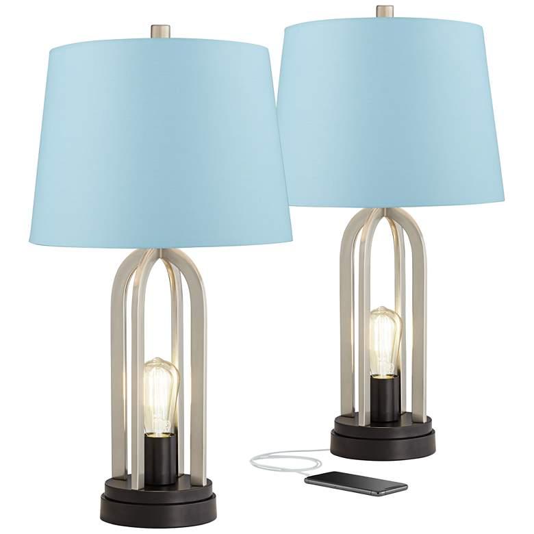 Marcel Brushed Nickel Blue Hardback USB Table Lamps Set of 2