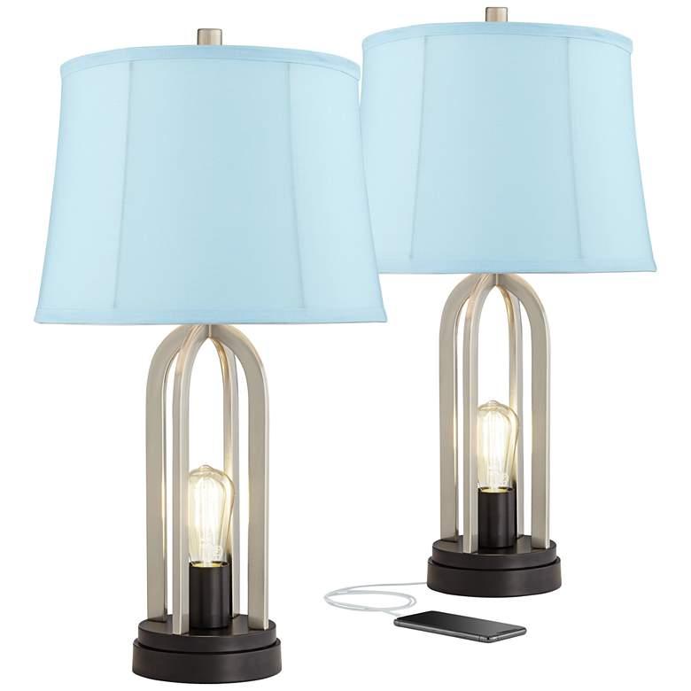 Marcel Brushed Nickel Blue Softback USB Table Lamps Set of 2