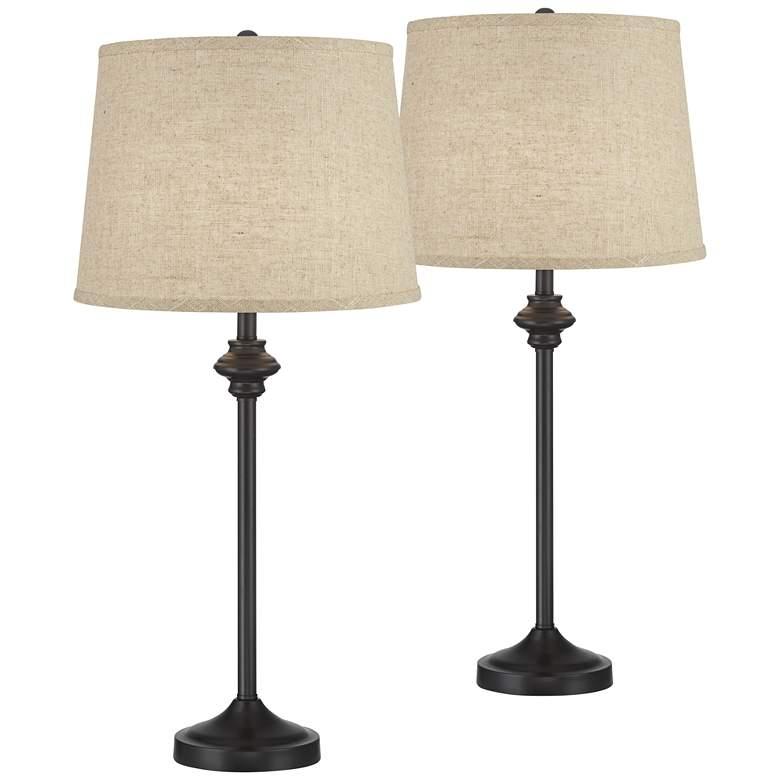 Lynn Black Buffet Burlap Linen Table Lamps Set of 2