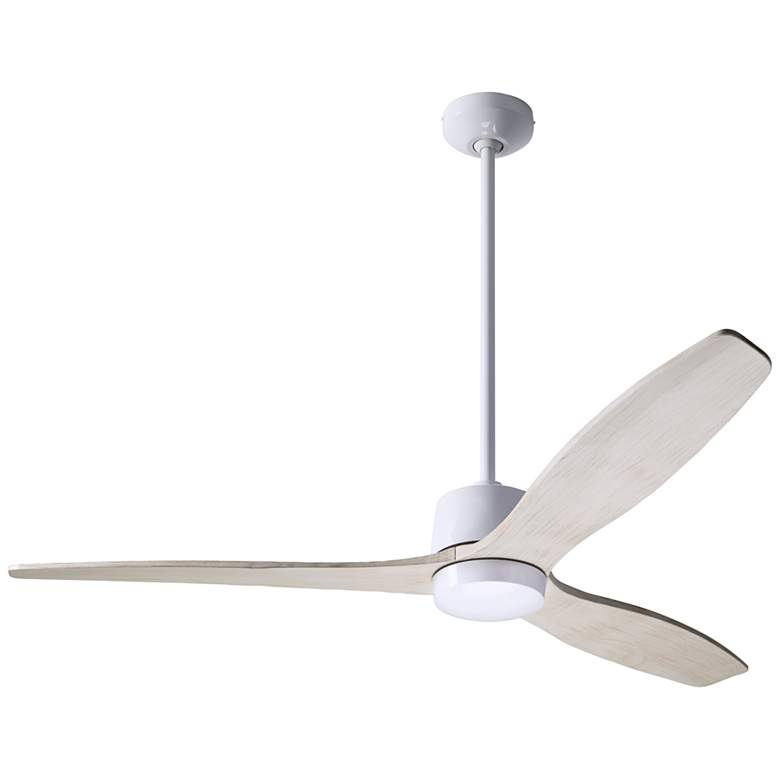 """54"""" Modern Fan Arbor Gloss White and Whitewash Damp Rated Ceiling Fan"""