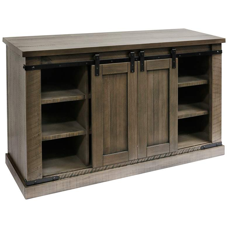 """Peachtree 52"""" Wide Rustic Taupe Gray Sliding Barn Door Media Console"""