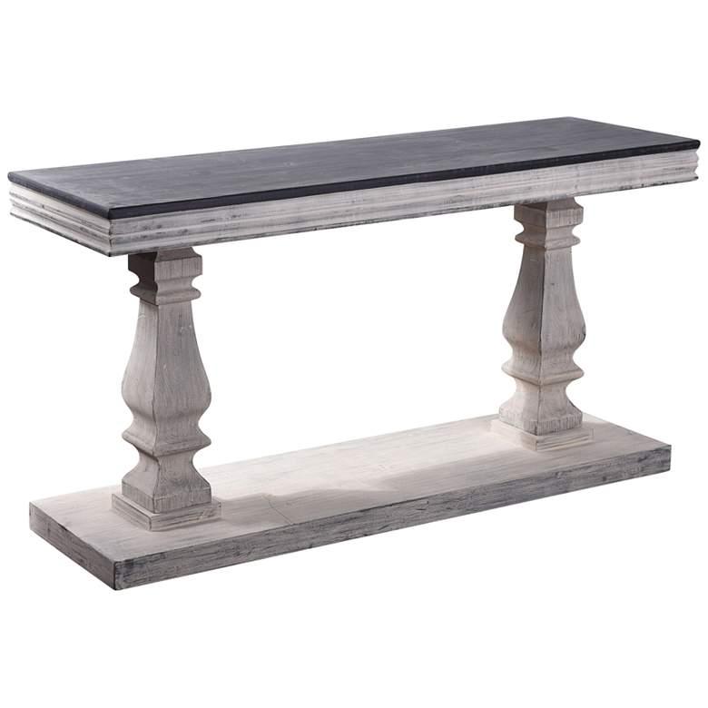 "Abernathy 59"" Wide Gray Candlestick Pillar Rectangular Console Table"