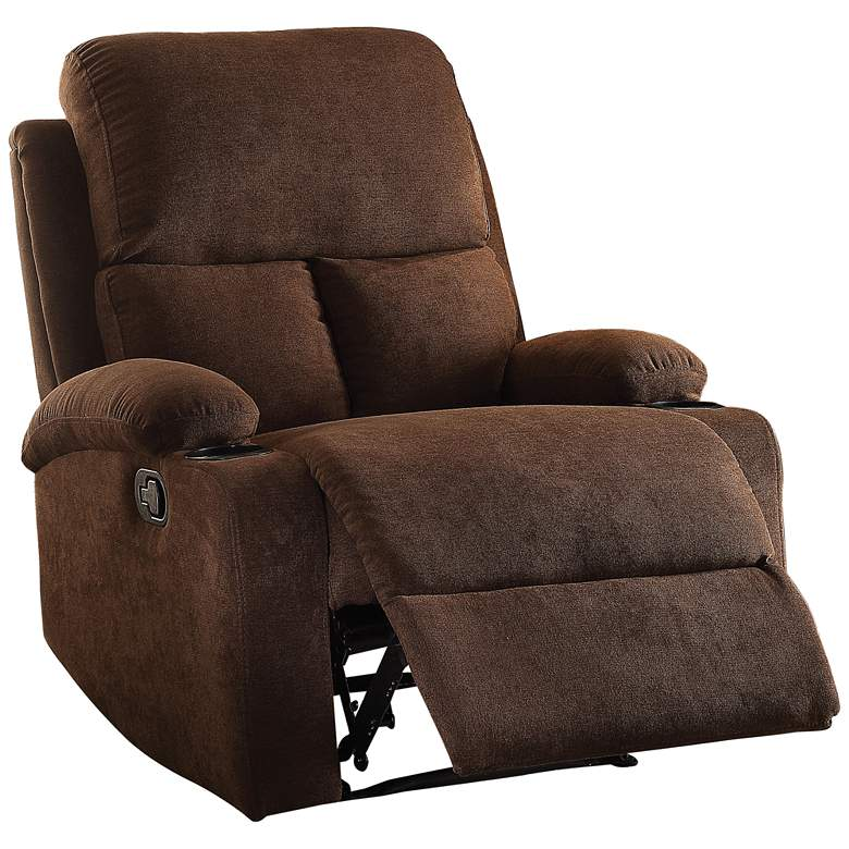 Rosia Chocolate Brown Velvet Adjustable Recliner with Cup Holders