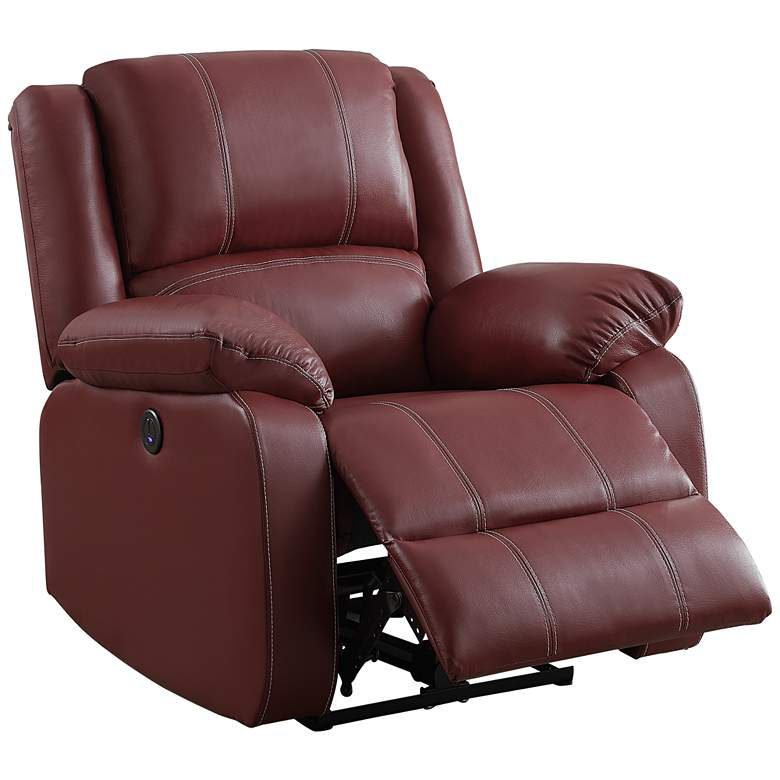 Zuriel Red Faux Leather Adjustable Power Recliner with USB Port
