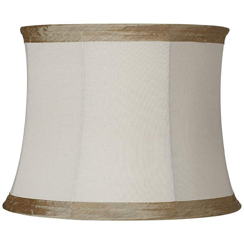 Ivory Linen with Taupe Trim Lamp Shade 14x16x12 (Spider)