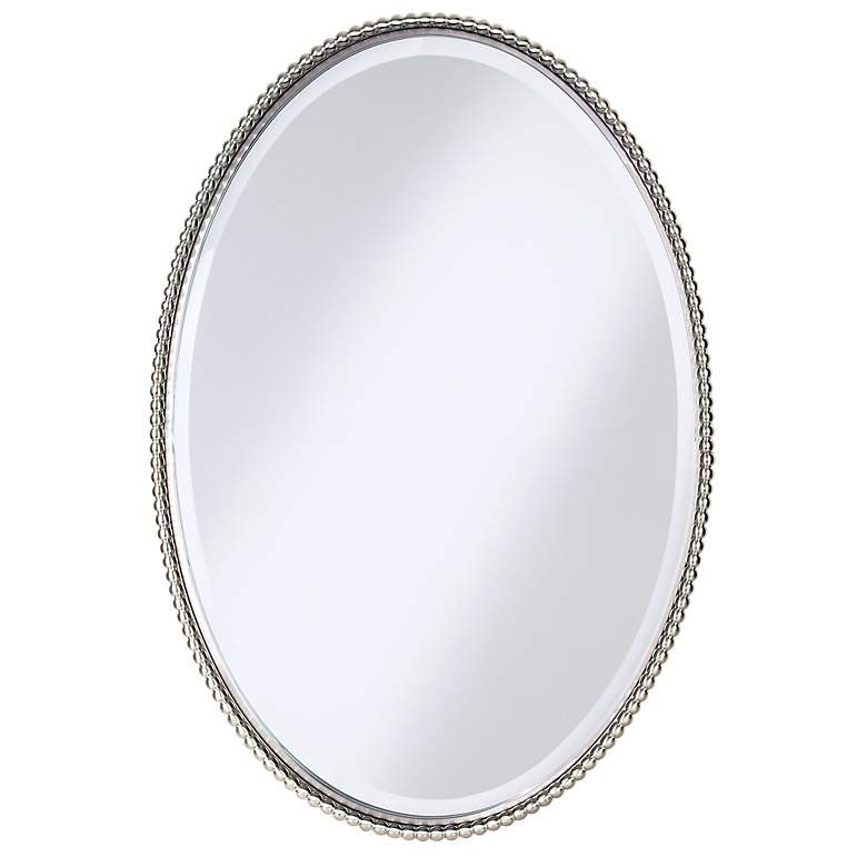 """Uttermost Sherise Brushed Nickel 22"""" x 32"""" Oval Wall Mirror"""