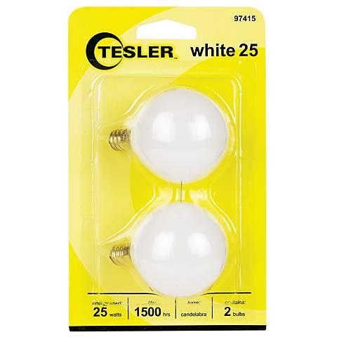 Tesler 25 Watt 2-Pack G16 1/2 White Candelabra Light Bulbs