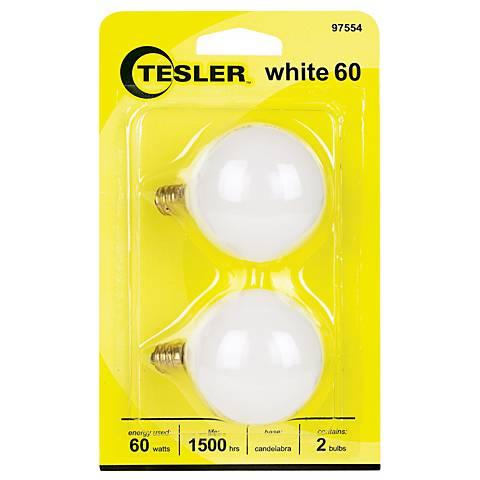 Tesler 60 Watt 2-Pack G16 1/2 White Candelabra Light Bulbs