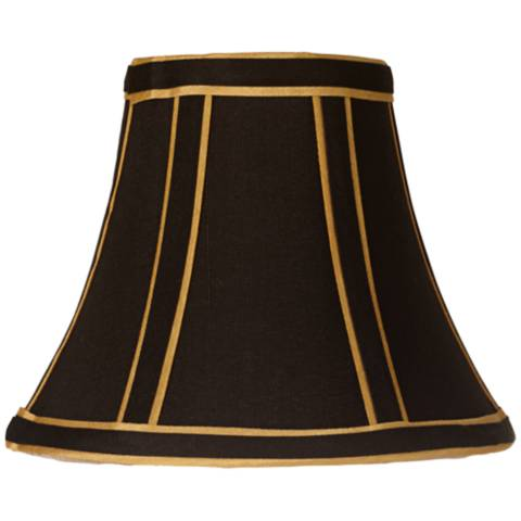 Black With Gold Trim Lamp Shade 3x6x5 Clip On 97580