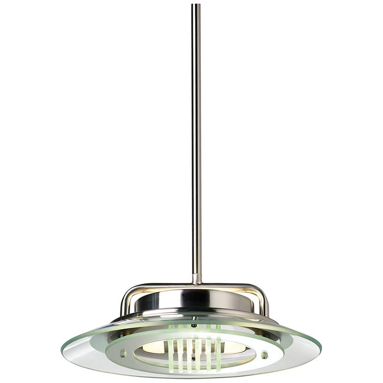 """Contemporary Glass Ring 12"""" Wide Brushed Nickel Mini Pendant"""