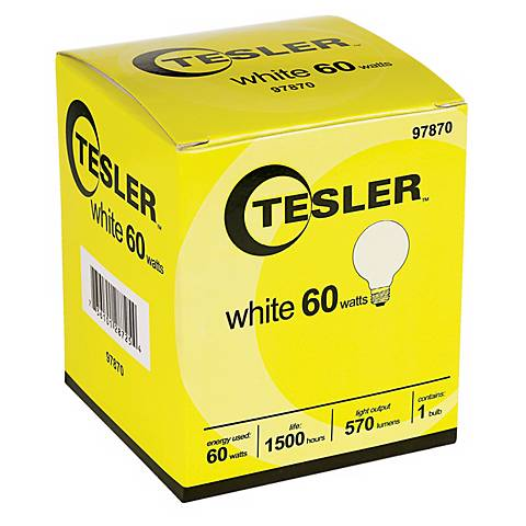 Tesler 60 Watt G25 White Glass Light Bulb