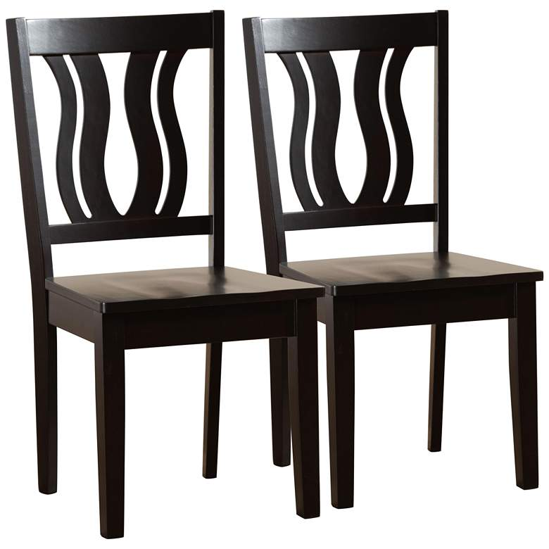 Baxton Studio Fenton Dark Brown Wood Dining Chairs Set of 2