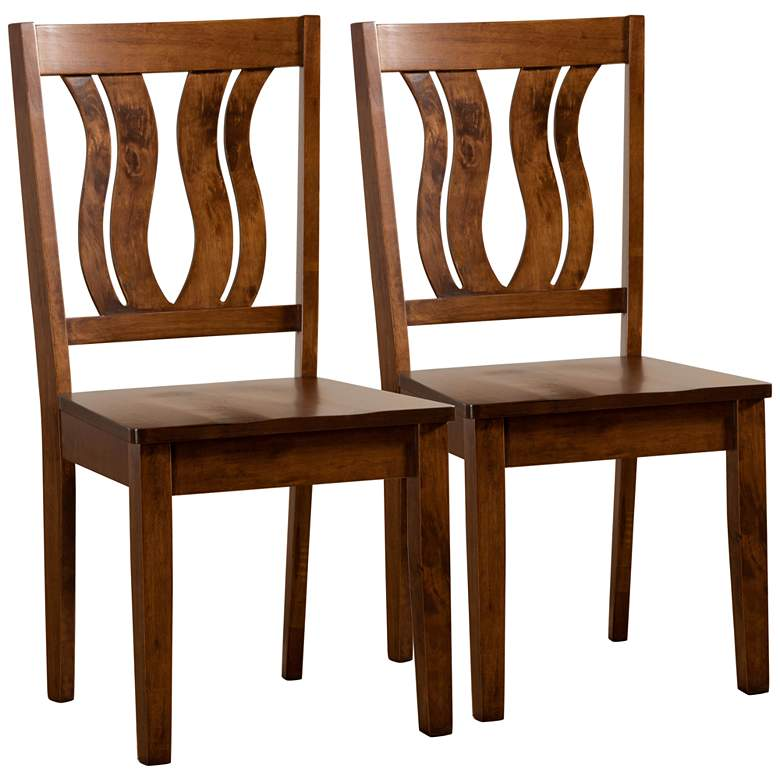 Baxton Studio Fenton Walnut Brown Dining Chairs Set of 2