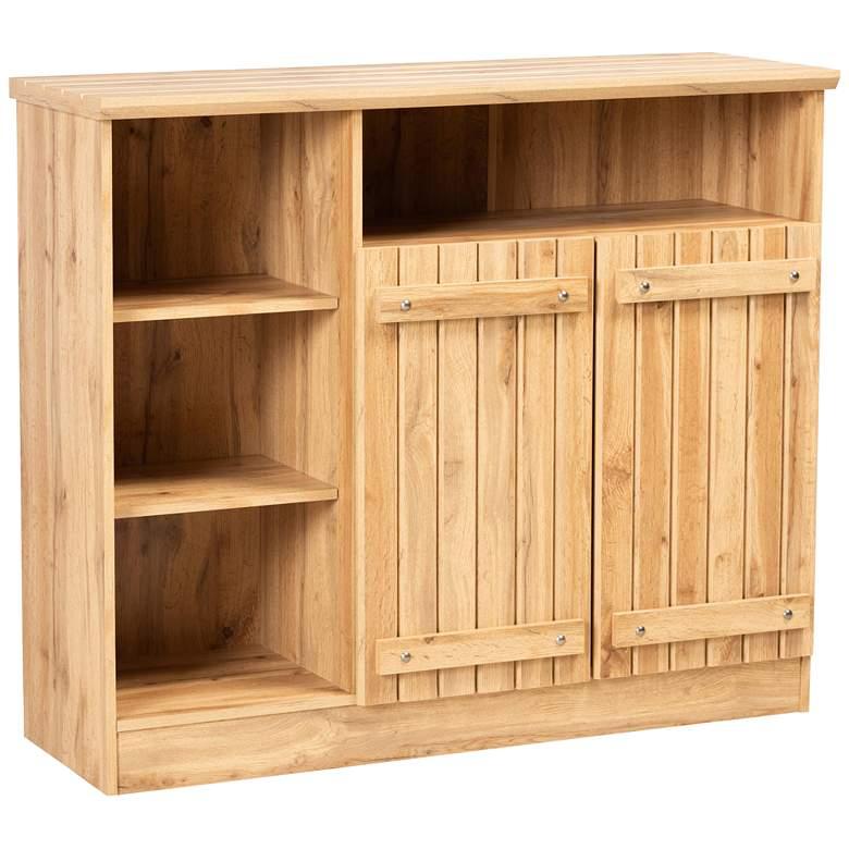 """Eren 47 1/4""""W Natural Oak Brown Wood 2-Door Sideboard Buffet"""
