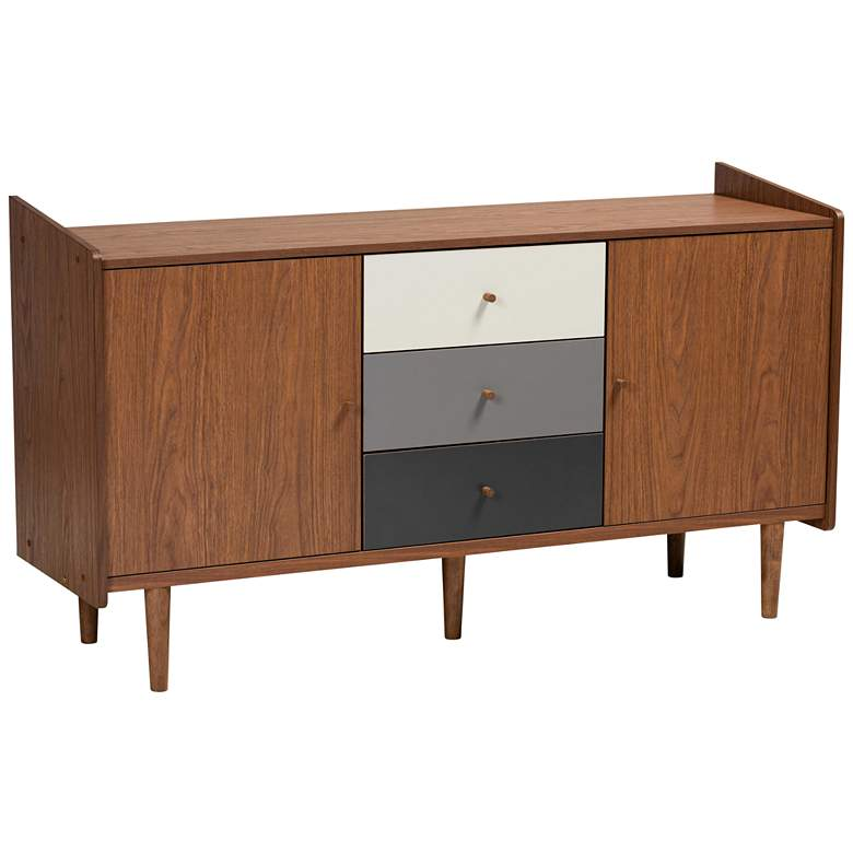 "Halden 57""W Walnut Brown and Gray 2-Door Sideboard Buffet"