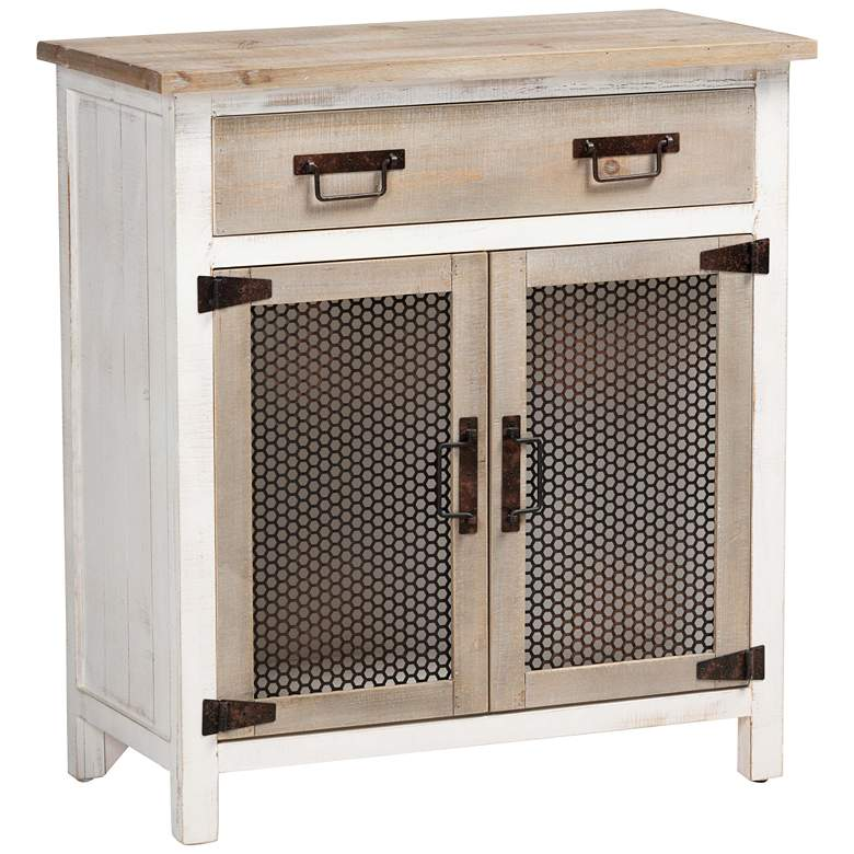 "Deacon 28 1/4""W White and Oak Brown 2-Door Storage Cabinet"