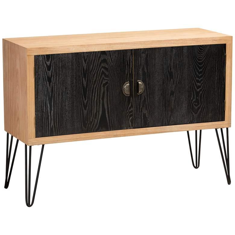 "Denali 41 3/4"" Wide Black and Walnut Brown Storage Cabinet"