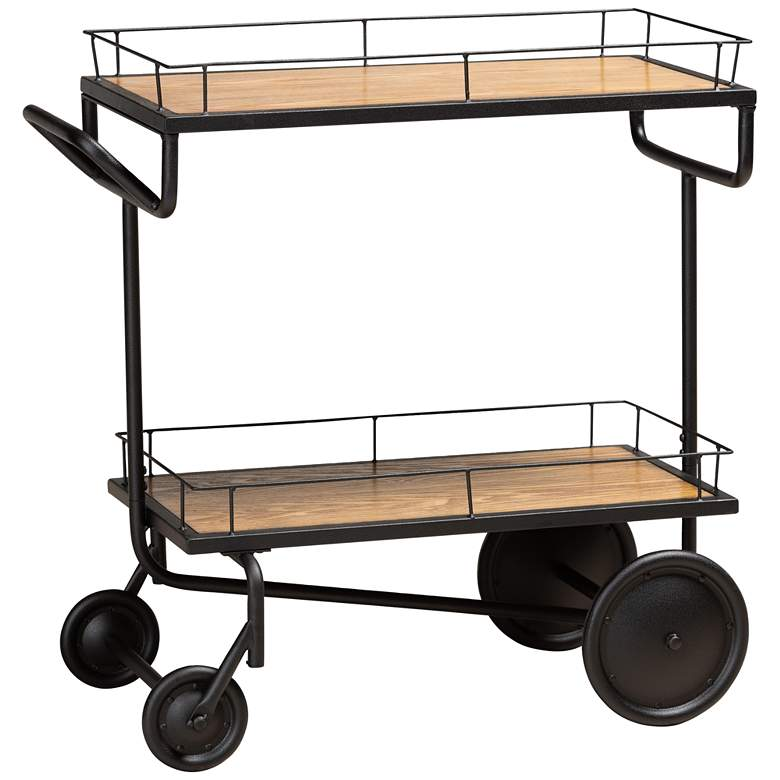 """Potter 32 1/4"""" Wide Brown and Black 2-Tier Wine Serving Cart"""