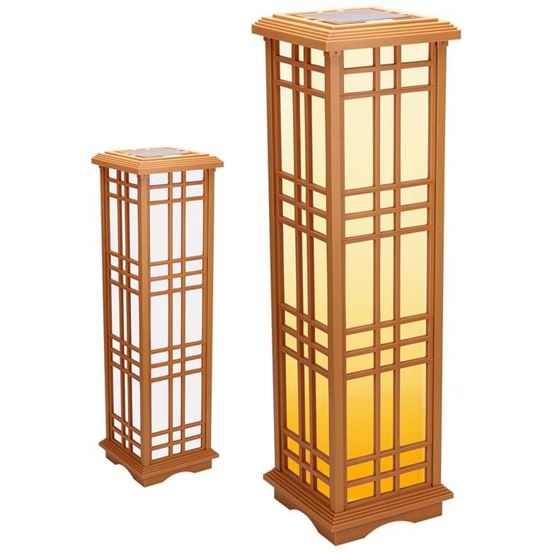 """Jira 33 1/2"""" High Beige LED Solar Zen Lantern Light"""