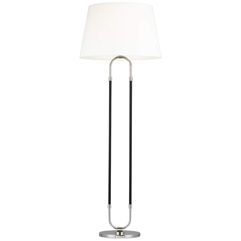 Katie Polished Nickel and Black Leather LED Floor Lamp by Ralph Lauren