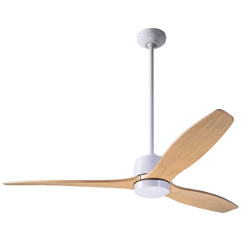 "54"" Modern Fan Arbor Gloss White and Maple Damp Rated Ceiling Fan"