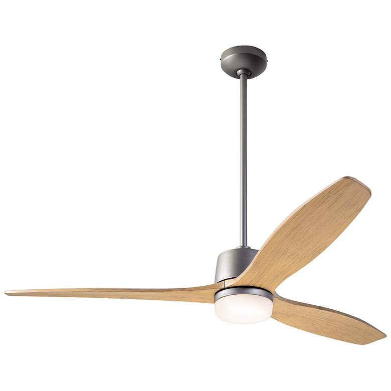 "54"" Modern Fan Arbor Graphite and Maple Damp Rated LED Ceiling Fan"