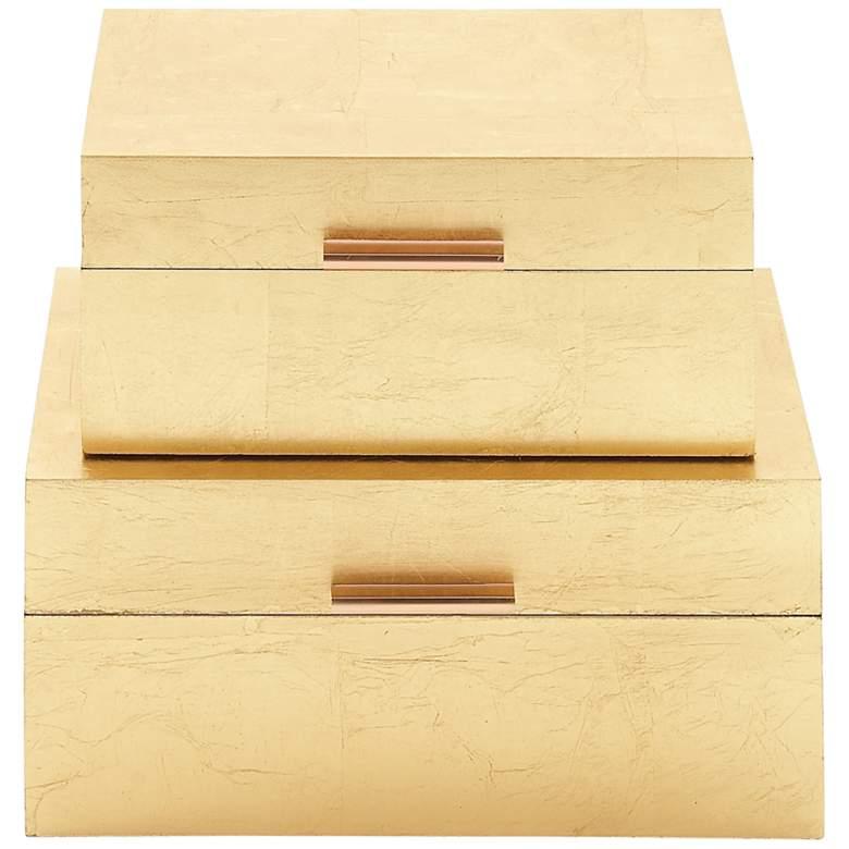 Textured Gold Rectangular Decorative Boxes Set of 2