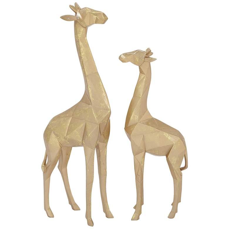 Giraffe Textured Gold Table Decor Statues Set of 2
