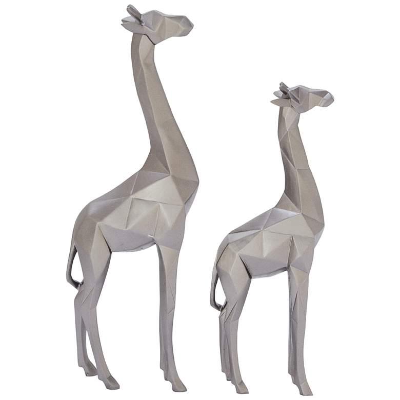 Giraffe Textured Silver Table Decor Statues Set of 2