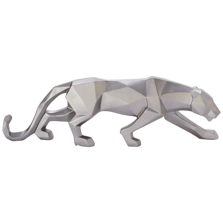"""Walking Leopard 18"""" Wide Textured Silver Table Decor Statue"""