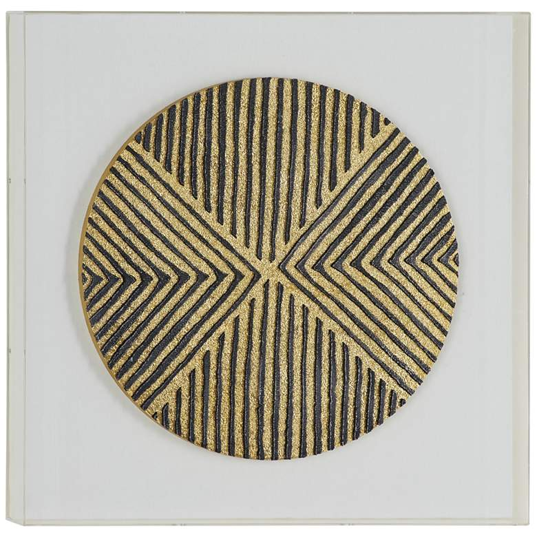 """Gold and Black Line Wood 23 3/4"""" Square Shadow Box Wall Art"""