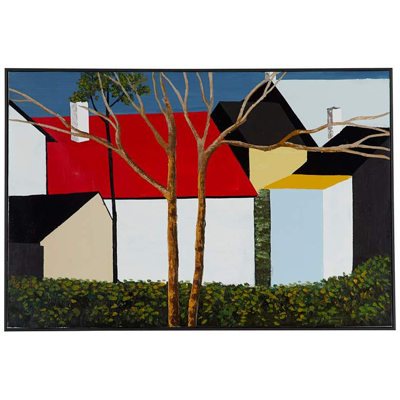 """Abstract House 47 1/2"""" Wide Painted Canvas Wall Art"""
