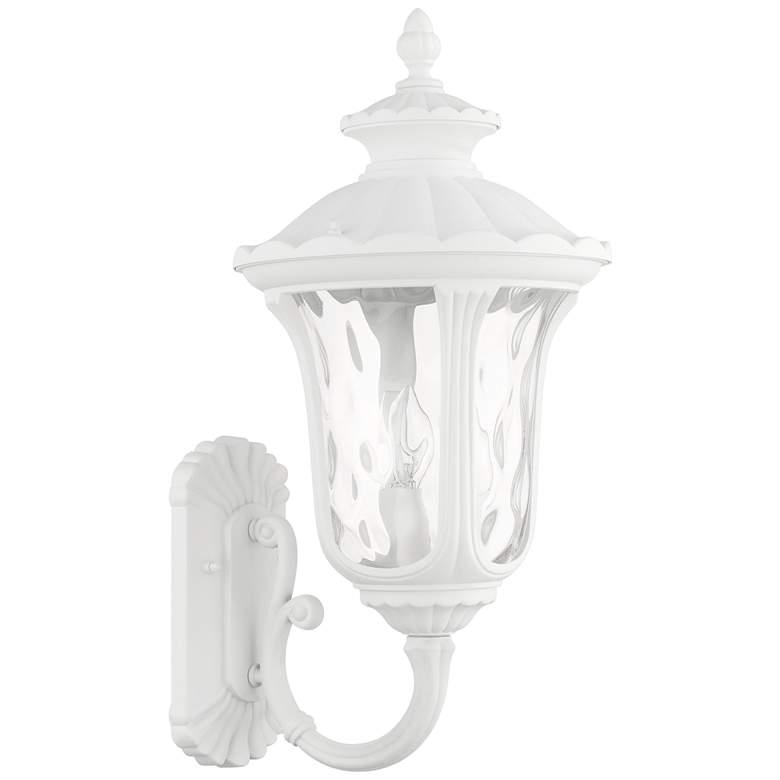 "Oxford 22""H Textured White Upward Lantern Outdoor Wall Light"