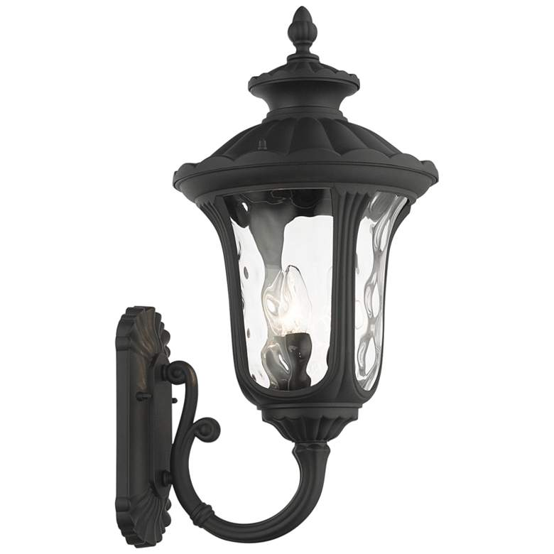 "Oxford 22""H Textured Black Upward Lantern Outdoor Wall Light"