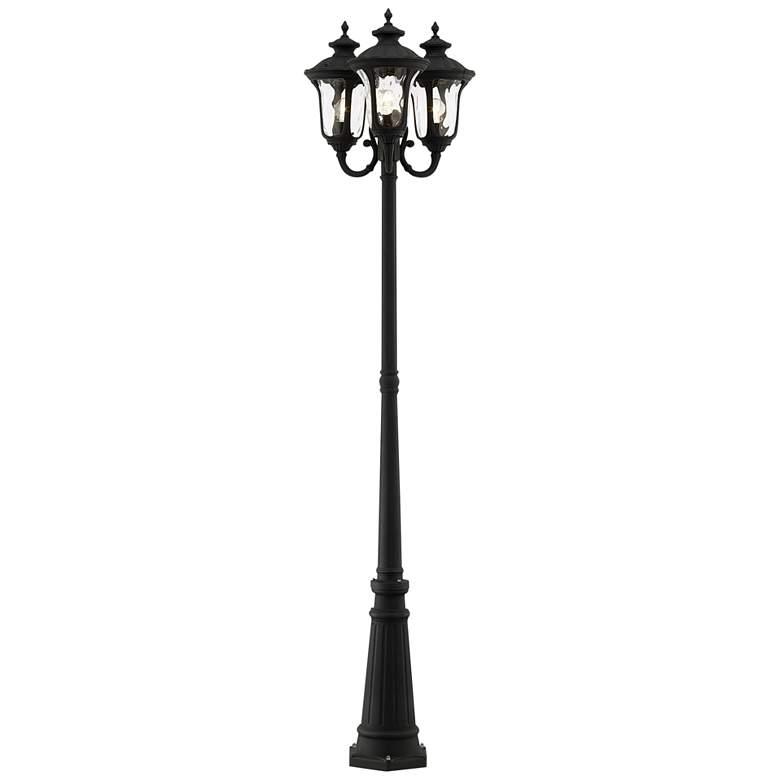 "Oxford 87"" High Textured Black 3-Lantern Outdoor Post Light"