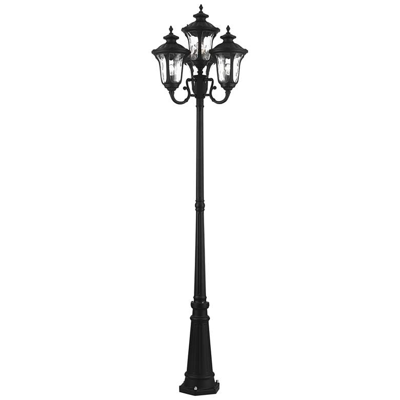 "Oxford 93"" High Textured Black 4-Lantern Outdoor Post Light"