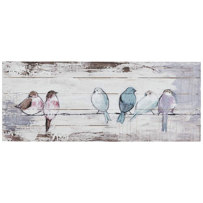 "Perched Birds 30"" Wide Wood Wall Art"