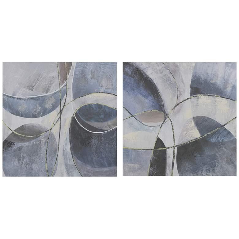 """Blue Abstract 24"""" High 2-Piece Canvas Wall Art Set"""